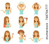 health hairs protection. teen... | Shutterstock .eps vector #768706777