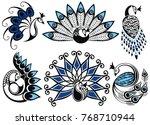 illustration peacock  logo...   Shutterstock .eps vector #768710944