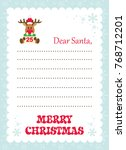 cartoon letter to santa with... | Shutterstock .eps vector #768712201