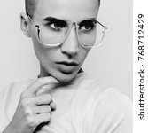 tomboy fashion model in stylish ... | Shutterstock . vector #768712429