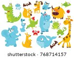 Stock vector big vector set of animals collection of cute animals in cartoon style giraffe elephant whale 768714157