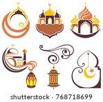 set of emblems for islamic holy ... | Shutterstock .eps vector #768718699
