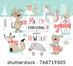 christmas and happy new year.... | Shutterstock .eps vector #768719305