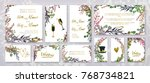 wedding invitation frame set ... | Shutterstock .eps vector #768734821