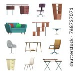 office furniture and objects... | Shutterstock .eps vector #768737071