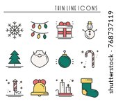 christmas holiday thin line... | Shutterstock .eps vector #768737119