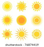 suns collection. vector... | Shutterstock .eps vector #76874419