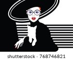 fashion woman with a cat in... | Shutterstock .eps vector #768746821