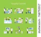 hospital scenes and services...   Shutterstock .eps vector #768752017