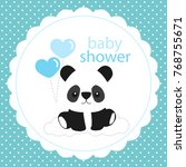 baby shower card with panda... | Shutterstock .eps vector #768755671
