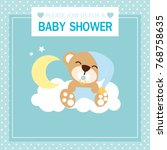 baby shower card with cute bear ... | Shutterstock .eps vector #768758635