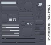 black interface buttons set....