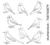 vector set of birds silhouettes ... | Shutterstock .eps vector #768760879