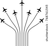 airplane flying formation  air... | Shutterstock .eps vector #768761545