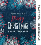 christmas background with fir... | Shutterstock .eps vector #768762961