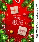 christmas background with fir... | Shutterstock .eps vector #768762979