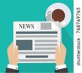 news words  coffee break  lunch ... | Shutterstock .eps vector #768769765