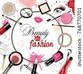 cosmetics set  hand drawn style ... | Shutterstock .eps vector #768770701