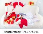 group of four children in... | Shutterstock . vector #768776641