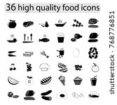 food icon set. black icons.... | Shutterstock .eps vector #768776851