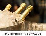 Bottle Of Champagne In Bucket...