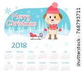 calendar 2018 year with dog.... | Shutterstock .eps vector #768793711