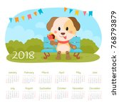 calendar 2018 year with dog.... | Shutterstock .eps vector #768793879