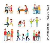 parents teach kid read  play... | Shutterstock . vector #768797635