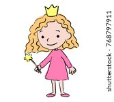 cute little princess girl with... | Shutterstock .eps vector #768797911