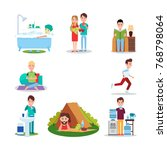 good habits  illustrations with ... | Shutterstock . vector #768798064