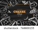 cheese collection. vector hand... | Shutterstock .eps vector #768800155