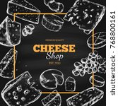 cheese collection. vector hand... | Shutterstock .eps vector #768800161