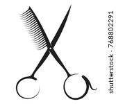 scissors and comb silhouette... | Shutterstock .eps vector #768802291