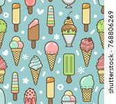cute colorful ice cream... | Shutterstock . vector #768806269