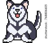 vector pixel art siberian husky ... | Shutterstock .eps vector #768806605