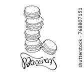 vector cartoon doodle macaron... | Shutterstock .eps vector #768807151