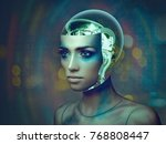 cybernetic organism  female... | Shutterstock . vector #768808447