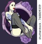 retro sexy girl in black... | Shutterstock .eps vector #768809359