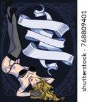 retro sexy girl in underwear... | Shutterstock .eps vector #768809401