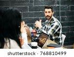 group of coworkers... | Shutterstock . vector #768810499