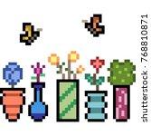 vactor pixel art flower vase... | Shutterstock .eps vector #768810871