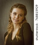beauty blonde  sepia toned... | Shutterstock . vector #768815929