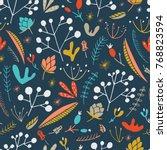 wildwood floral seamless... | Shutterstock .eps vector #768823594