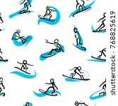 hand drawn snowboarder icons ... | Shutterstock .eps vector #768825619