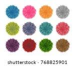 colorful fluffy pompom set... | Shutterstock .eps vector #768825901