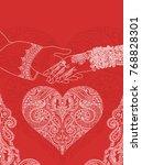 wedding indian invitation card. ... | Shutterstock .eps vector #768828301