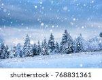 fairy winter landscape with fir ... | Shutterstock . vector #768831361