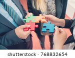 group of business people puting ... | Shutterstock . vector #768832654