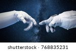 two near touching hands in... | Shutterstock . vector #768835231