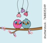 love birds on top of a branch....